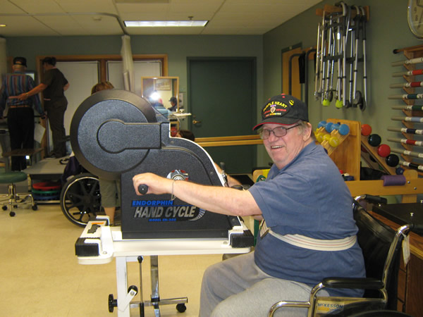 Veteran at Cameron Veterans Home doing therapy