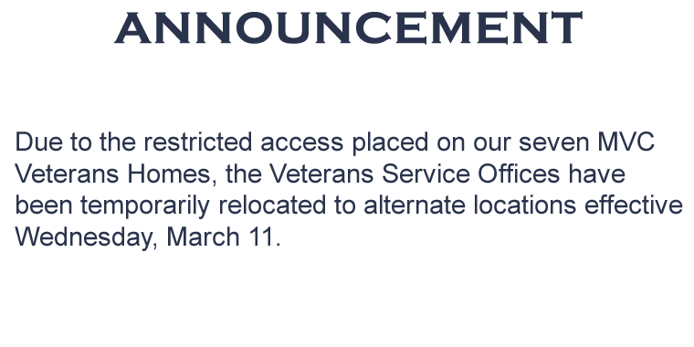 Announcement on Veterans Homes